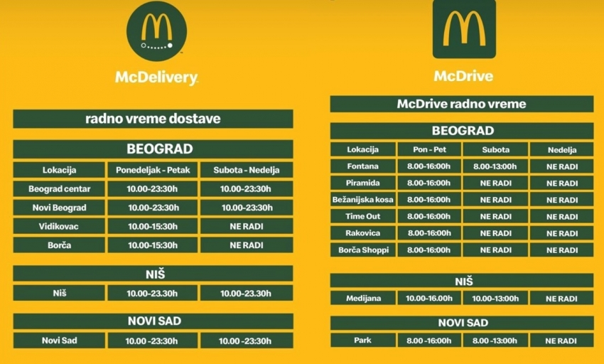 McDrive and McDelivery - New working hours